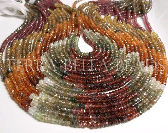 """6.5"""" strand AAA TUNDRA SAPPHIRE faceted rondelle beads 3.5mm red gold green"""