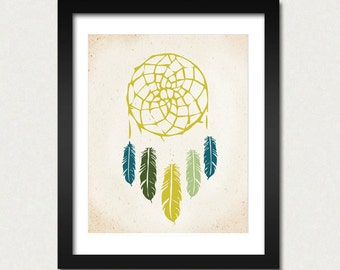 Dreamcatcher Print, Native Wall Art, Indian Art, Modern Home Decor, Dreamcatcher Poster, American Tribal, SALE buy 2 get 3, Choose Color