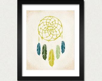 Dreamcatcher Print, Native Wall Art, Indian Art, Modern Home Decor, Dreamcatcher Poster, American Tribal, SALE buy 2 get 3, Choose Color