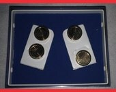 Vintage SWANK Bulls Eye Gold Button Toppers Set 4 Hinged