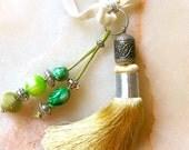 Moroccan accessory - light mustard art silk tassel - beaded  pendent  - moroccan art