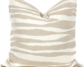 Kate Spade Tan Linen Zebra Pillow Cover Choose your size  Square, Eurosham or Lumbar pillow, Kravet fabric, toss pillow, tan throw pillow