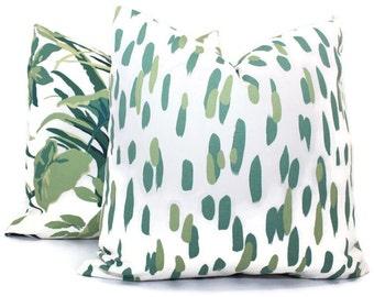 Robert Allen Madcap Mill Reef Palm Pillow Cover Square, Eurosham or Lumbar Pillow Cover, Toss Pillow