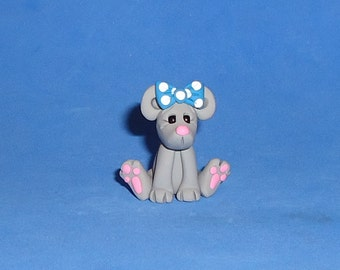 Polymer Clay Sitting Mouse with Blue Bow
