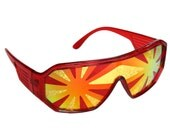 Rasslor Red Frame Red and Gold Burst Shield Sunglasses