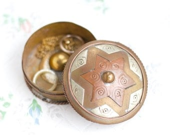 Boho Jewelry Box - Copper and Brass Little Round Trinket Box