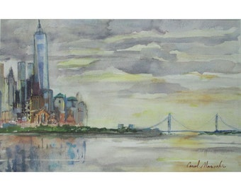 Freedom Tower and the Verrazano Bridge Viewed from Hoboken, New Jersey - an Original Impressionistic Watercolor