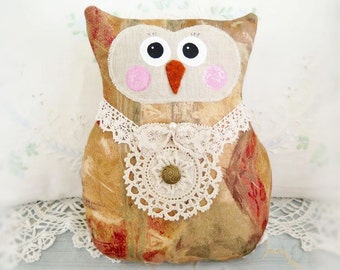 Owl Doll Owl Pillow 9 inch Soft Sculpture Doll DECORATOR Fabric Primitive Handmade CharlotteStyle Decorative Folk Art