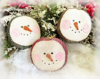 "Snowman Face Ornaments, Set of  3 Christmas 3"" Snowman Head Ornaments Christmas Bowl Fillers Primitive Decorations CharlotteStyle Home Decor"