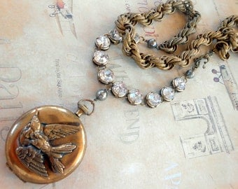 Bird Locket Necklace, Assemblage, Swallow, Haskell Chain, Antique Gold, Rhinestone, Pyrite, Long, Vintage Repurposed, Upcycled, Recycled