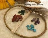 DIY Dream Catcher Kit - small natural orgainic willow hoop - hand spun silk string - gemstone - feathers