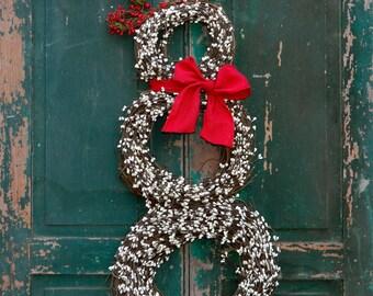 Snowmen Christmas Wreath - Snowman Wreath - Winter Wreath - Choose Scarf