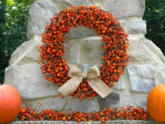 Berry Wreath - Fall Door Wreath - Thanksgiving Wreath - Many Ribbon Options