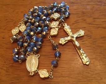 Smokey Gold Faceted Rosary