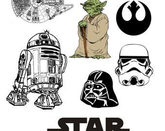 Star Wars Costume Temporary Tattoos - Star Wars Halloween Tattoos - Star Wars Cosplay - Darth Vader Costume - Yoda Costume - R2D2
