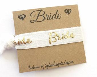 Hair Tie Bride Gift - Bride Hair Tie Favor - Bride To Be Gift - Hair Tie Favor - Something New Bride - White and Gold Wedding Hair Tie