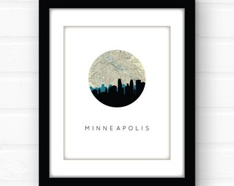 Minneapolis skyline art | Minneapolis art print | Minneapolis map art | Minneapolis print | Minnesota wall art | Minnesota map art