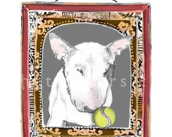 English Bull Terrier with Tennis Ball in Pinchbeck Vintage Style Frame Print