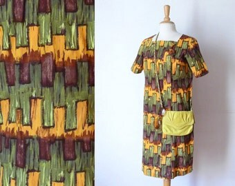 60s brown ochre green atomic printed wiggle bow dress XL