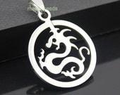 "1.25"" Plished stainless steel Dragon Charm pendants-silver dragon Charm PENDANT"
