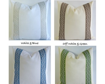 Decorative Pillow Cover Cotton Canvas with Greek Key Ribbon Border - 16x16 To 26x26 6 Different Color Choices