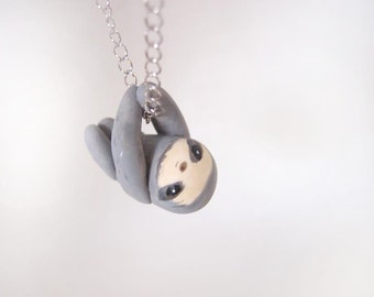 Miniature sloth necklace -grey
