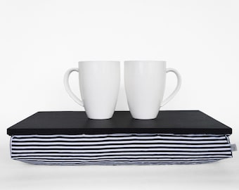 Wooden bed tray with pillow, serving Tray - black tray, black and white stripe Pillow