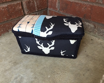 Navy and Mint Large Diapers Wipes Tub