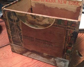 Vintage Antique 1800s tobacco old cigar box storage decorative advertising