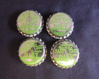 Vintage Milky's Party Time Twinkle Diet Lemon Lime Soda Pop Bottle Caps Set of 4 Four