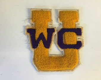 Vintage Yellow & Purple UWC Letterman Patch College Sports