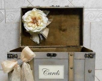 Wedding Card Holder / Wedding Card Box  / Rustic Chic Wedding Card Trunk / Grey And Ivory Wedding Card Trunk / Wedding Decorations