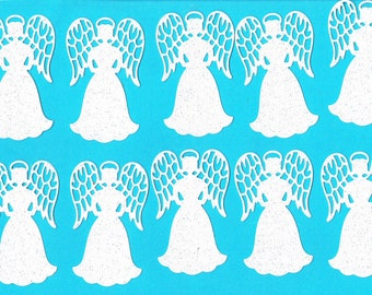 10 Angel White Glitter cardstock die cut embellishments for paper crafting