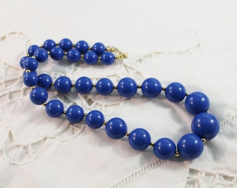 Nice Blue and Gold Tone Bead Necklace