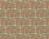 1/2 yard LAMINATED cotton fabric (aka oilcloth coated wipeable fabric) 18 x 40 - Tribal Arrows EXCLUSIVE - Safe for children's products