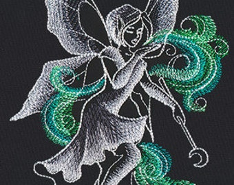 Beautiful Absinthe Fairy Embroidered Flour Sack Hand/Dish Towel