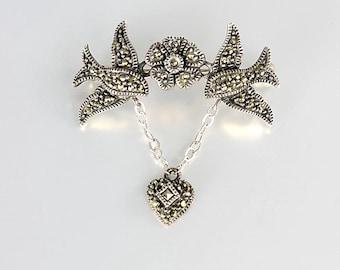 Love Birds Brooch, Marcasite Sterling silver Heart Brooch, Wedding gift for bride, vintage Sweetheart Jewelry