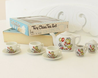 Vintage Toy Child's China Tea Set Chick Dog Japan 1960s