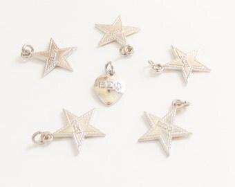 6 Vintage BEO Beta Epsilon Omega Sorority Sterling Charms 1950s 1960s Star Heart