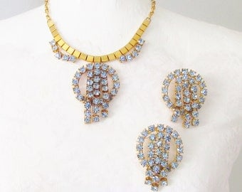 Vintage Huge Chunky Blue Rhinestone Necklace Earrings 1960s Statement
