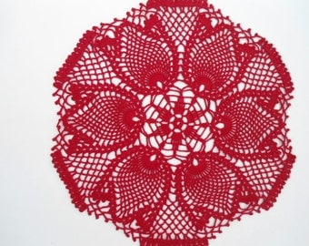 Red tulip crochet doily, red lace doily, 14""