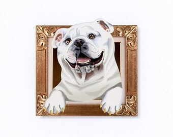English Bulldog Tiny Art Print - White - Dog Art Print - Tiny Bulldog in a Frame