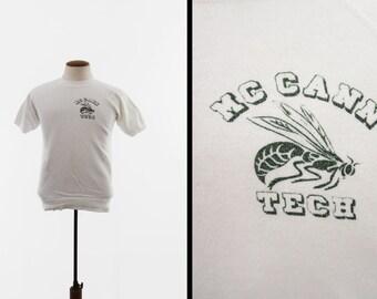 Vintage 70s McCann Tech Sweatshirt Champion Blue Bar Raglan Made in USA - Small / Med