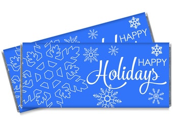 Happy Holidays Blue Snowflakes Personalized Candy Bar Wrappers - Great holiday party favors