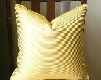 Designer Yellow Gold Tan Ribbed Lines Pillow, Woven Textured  Striped Toss Pillow