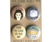 Elaine Benes, Elaine Benes badges, Seinfeld badges, Elaine Benes pinback buttons