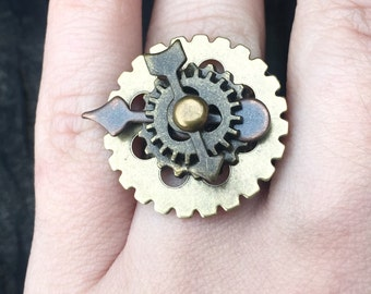 Steampunk Gears Ring, Victorian Steampunk Ring, Cosplay Ring