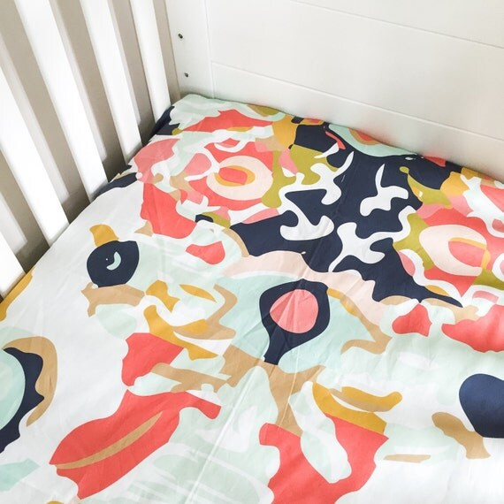 Fitted Crib Sheet Coral Jubilee Coral Crib Sheet Floral By