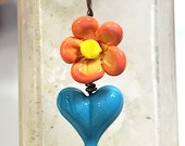 Glass Heart & Flower pendant handmade by Thornburg Bead Studio