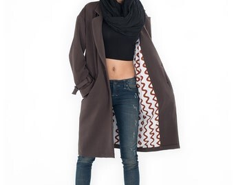 SALE 50 % !! Was 150 now 75 > Trench coat  / Womens trench coat / Long coat /Autumn Fall Winter Coat : Nature Touch Collection